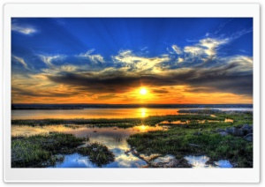 Sunset over the Waters HD Wide Wallpaper for Widescreen