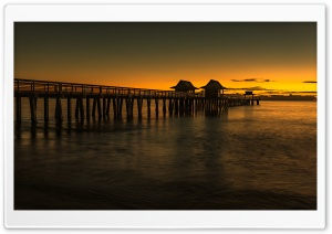 Sunset, Pier, Florida HD Wide Wallpaper for 4K UHD Widescreen desktop & smartphone