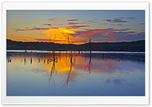 Sunset Reflection, Clinton Lake HD Wide Wallpaper for Widescreen