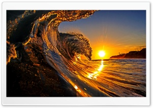 Sunset, Sea Wave HD Wide Wallpaper for 4K UHD Widescreen desktop & smartphone