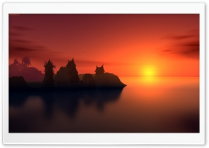 Sunset Vector Art HD Wide Wallpaper for Widescreen
