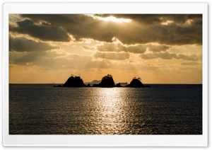 Sunset with Small Islands HD Wide Wallpaper for Widescreen