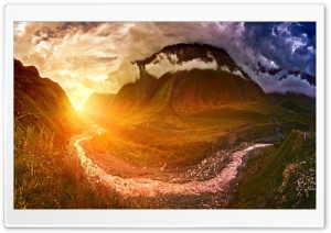 Sunshine, Mountain Landscape Fisheye Photography HD Wide Wallpaper for 4K UHD Widescreen desktop & smartphone
