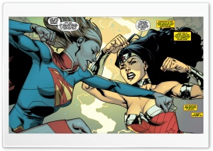 Supergirl Wonder Woman Fight HD Wide Wallpaper for 4K UHD Widescreen desktop & smartphone