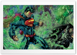 Superman, Batman, Green Lantern fight HD Wide Wallpaper for Widescreen
