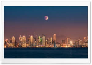 Supermoon Eclipse over San Diego HD Wide Wallpaper for Widescreen