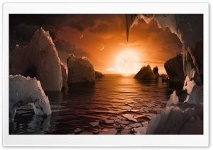 Surface of planet TRAPPIST 1f