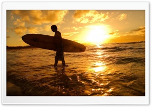 Surfer At Sunset HD Wide Wallpaper for Widescreen