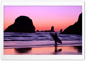 Surfer At Sunset Cannon Beach Oregon HD Wide Wallpaper for 4K UHD Widescreen desktop & smartphone