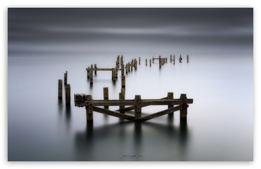 Download Swanage Abandoned Old Pier HD Wallpaper