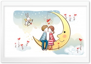 Sweet Couple On Moon HD Wide Wallpaper for Widescreen