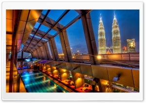 Swimming Pool And Petronas Towers HD Wide Wallpaper for 4K UHD Widescreen desktop & smartphone
