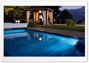 Swimming Pool At Night HD Wide Wallpaper for 4K UHD Widescreen desktop & smartphone