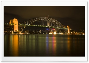 Sydney Harbour Bridge At Night HD Wide Wallpaper for Widescreen