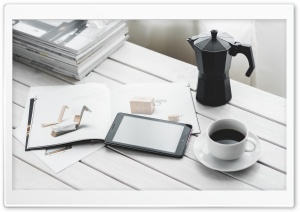 Tablet and Coffee HD Wide Wallpaper for Widescreen