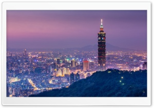 Taipei 101 At Night Panoramic View HD Wide Wallpaper for Widescreen