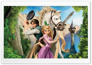 Tangled   Rapunzel, Flynn And Maximus HD Wide Wallpaper for Widescreen