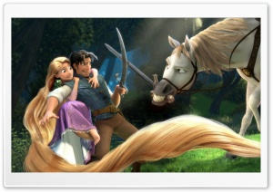 Tangled   Rapunzel, Flynn, Maximus HD Wide Wallpaper for Widescreen