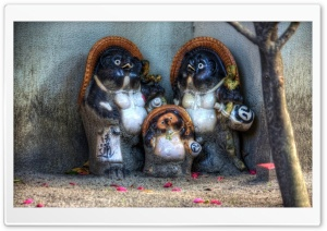 Tanuki Family HD Wide Wallpaper for Widescreen