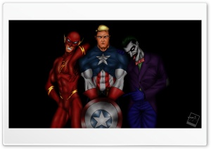 Tatangs Art - Flash, Captain America, Joker by tame achi HD Wide Wallpaper for 4K UHD Widescreen desktop & smartphone