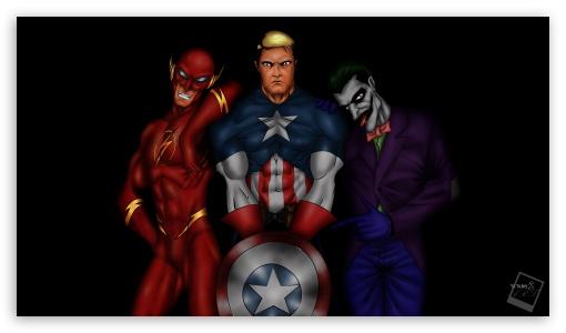 Tatangs Art - Flash, Captain America, Joker by tame achi ❤ 4K UHD Wallpaper for 4K UHD 16:9 Ultra High Definition 2160p 1440p 1080p 900p 720p ; UHD 16:9 2160p 1440p 1080p 900p 720p ; Mobile 16:9 - 2160p 1440p 1080p 900p 720p ;