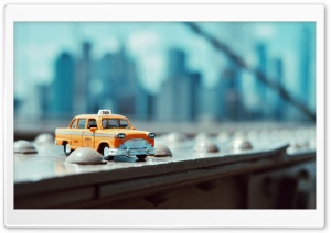 Taxi in Brooklyn Bridge HD Wide Wallpaper for 4K UHD Widescreen desktop & smartphone