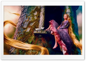 Taylor Swift As Rapunzel HD Wide Wallpaper for Widescreen