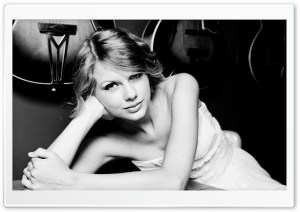 Taylor Swift Black and White HD Wide Wallpaper for Widescreen
