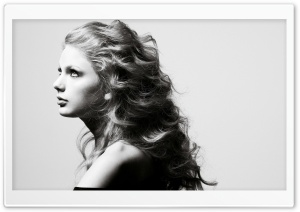 Taylor Swift In Black And White HD Wide Wallpaper for Widescreen