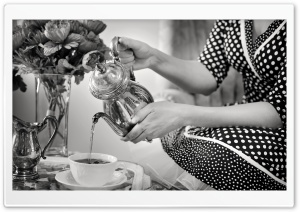 Tea Party Black and White HD Wide Wallpaper for Widescreen