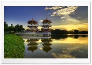 Temple Reflections HD Wide Wallpaper for Widescreen