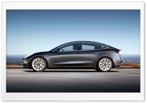 Tesla Model 3 Electric Car - Grey, Profile Ultra HD Wallpaper for 4K UHD Widescreen desktop, tablet & smartphone