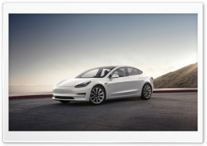 Tesla Model 3 Electric Car - Mountain Pearl Ultra HD Wallpaper for 4K UHD Widescreen desktop, tablet & smartphone
