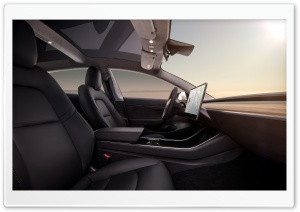 Tesla Model 3 Electric Car Black Interior Ultra HD Wallpaper for 4K UHD Widescreen desktop, tablet & smartphone