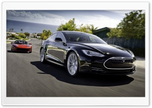 Tesla Model S Black HD Wide Wallpaper for Widescreen