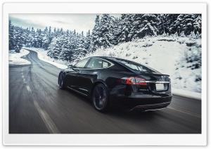 Tesla Model S Electric Car - Black, Winter HD Wide Wallpaper for 4K UHD Widescreen desktop & smartphone