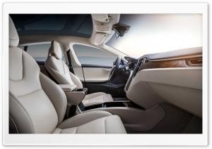 Tesla Model S Electric Car - Cream Interior Ultra HD Wallpaper for 4K UHD Widescreen desktop, tablet & smartphone