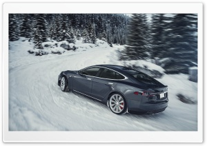 Tesla Model S Electric Car - Grey, Winter Ultra HD Wallpaper for 4K UHD Widescreen desktop, tablet & smartphone