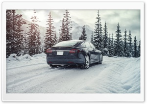 Tesla Model S Electric Car - Mountain Road, Snow Ultra HD Wallpaper for 4K UHD Widescreen desktop, tablet & smartphone