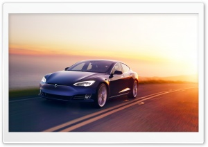 Tesla Model S Electric Car, Road, Sunset Ultra HD Wallpaper for 4K UHD Widescreen desktop, tablet & smartphone