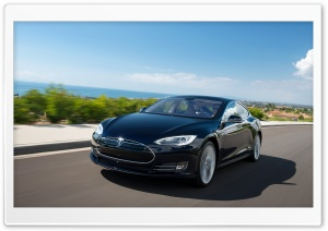 Tesla Model S in Blue, Driving Down The Coast HD Wide Wallpaper for Widescreen