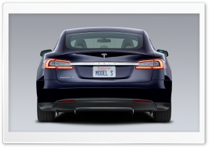 Tesla Model S in Blue, Rear HD Wide Wallpaper for Widescreen