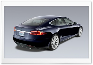 Tesla Model S in Blue, Rear View HD Wide Wallpaper for Widescreen