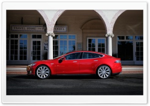 Tesla Model S in Red, Palos Verde, California HD Wide Wallpaper for Widescreen