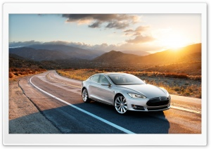 Tesla Model S in Silver, Desert Road HD Wide Wallpaper for Widescreen