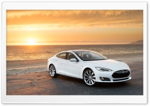 Tesla Model S in White, At the Beach HD Wide Wallpaper for Widescreen