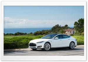 Tesla Model S in White, Ocean View HD Wide Wallpaper for Widescreen