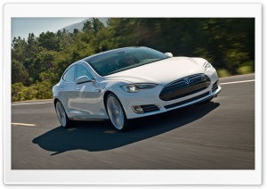 Tesla Model S on the Road HD Wide Wallpaper for Widescreen