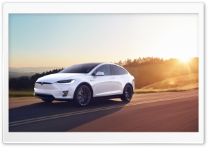 Tesla Model X SUV Electric Car - White, Sunset Ultra HD Wallpaper for 4K UHD Widescreen desktop, tablet & smartphone