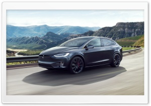 Tesla Model X SUV Electric Car Valley Road Ultra HD Wallpaper for 4K UHD Widescreen desktop, tablet & smartphone